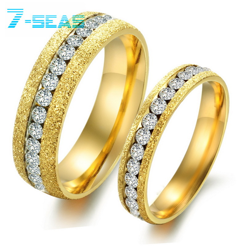 Korean Jewelry Stainless Steel Lovers Wedding Bands Couple Rings His And Hers