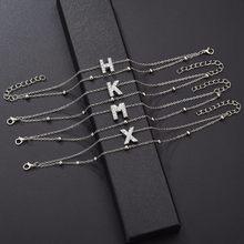 26 букв, стразы, браслеты для женщин, BFF, буквы, начальные браслеты, золотые, серебряные, металлические цепочки, дружба, ручная работа, Рождеств...(China)