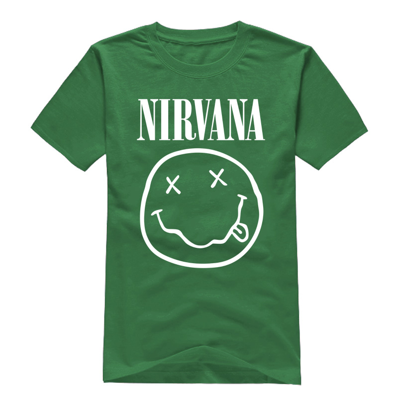 Rock Band Nirvana Men T Shirts Tops Short Sleeve Famous Letter Printed Cotton Male t shirt