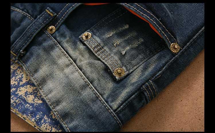 Скидки на Бренд Одежды Мужские Джинсы Вышитые Джинсы Отверстие Старинные Мыть Разорвал Брюки Темно-Синий Bedge Лоскутные Брюки Для Мужчин