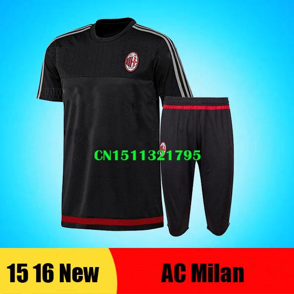 Survetement football Italy AC Milan 2016 training soccer jersey tracksuits 15 16 Maillot Foot AC Milan training shirt sport pant(China (Mainland))