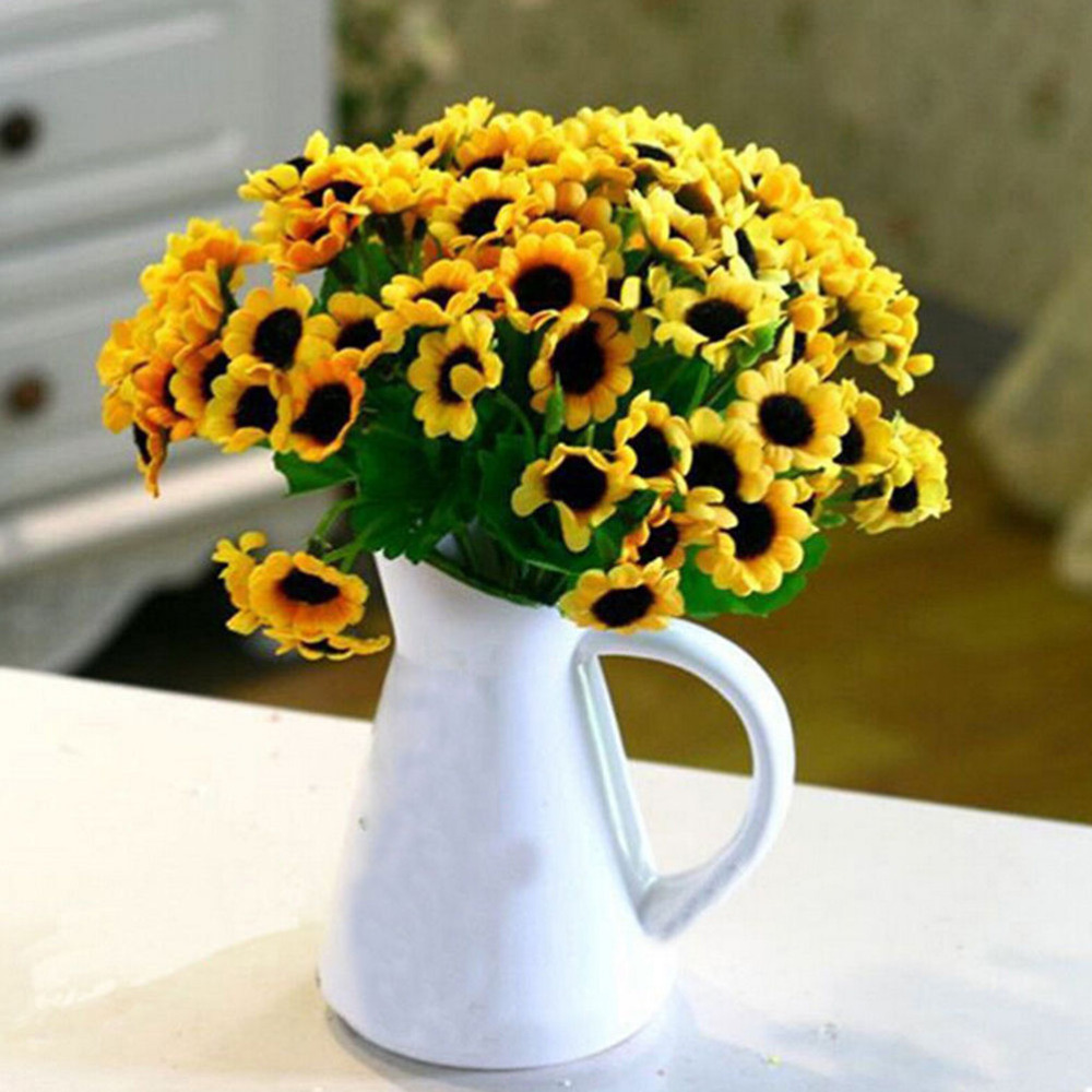 1PCS 14 Head Fake Simulation Sunflower Artificial Silk Flower Floral Bouquet For Valentine's Day Home Wedding Party Decorations(China (Mainland))