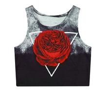Summer style T shirt Women Vest blck fashion brands harajuku red Rose Crop Tops Tees Tight Elasticity camisetas blusas femininas(China (Mainland))
