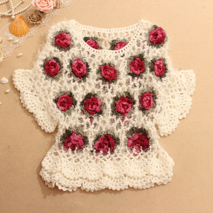 flower batwing sweater short sleeve jumper slim fit mesh Jersey openwork blouse women's summer shirt knit jacket - free city store