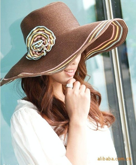 Kentucky Derby professional women's large hat hats multicolour flower hat wide wire brim Floppy hat sun summer beach hat hats