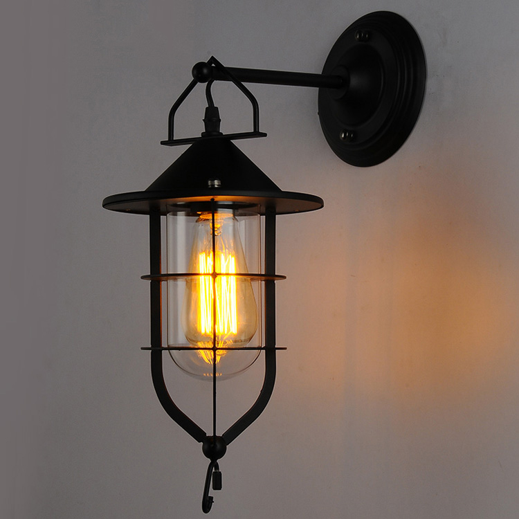 Indoor Wall Lantern Lights : American Industrial Country Retro Wall Lamp Dock Iron Bar Coffee Wall Light Outdoor Indoor Wall ...