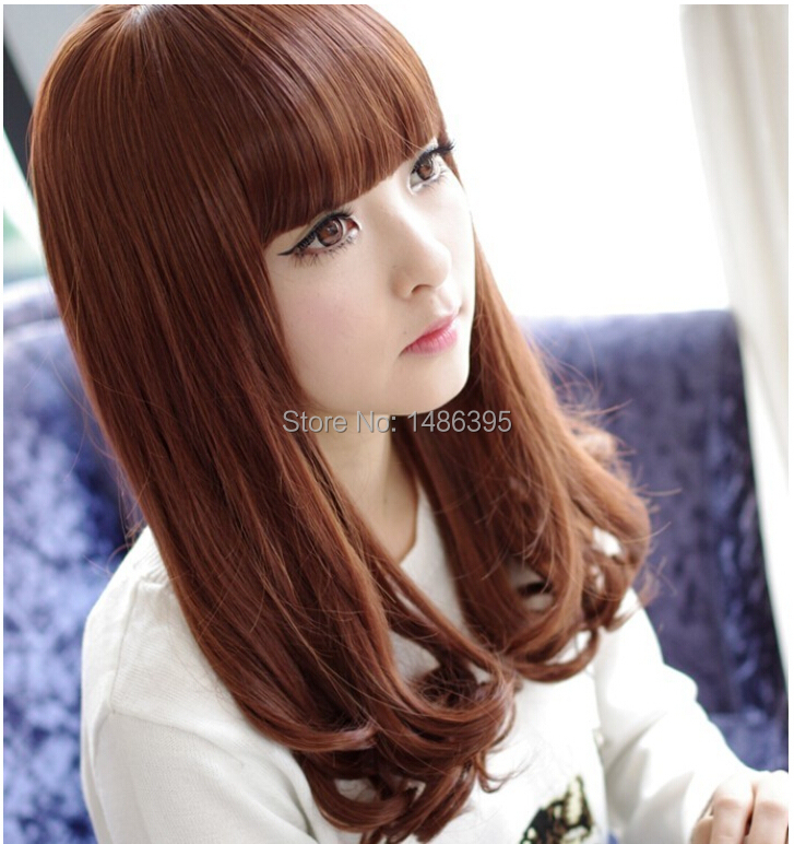 2014 new fashion women soft smooth female girls medium wavy synthetic hair wigs black brown sweet lovely lady wig - Lucky Dog's House store