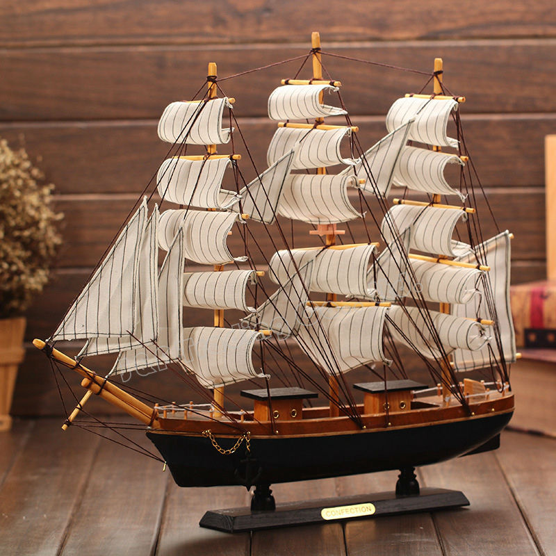 50cm Mediterranean Style Wooden Sailing Ship Handmade Carved Sailing Boat Model Kits <font><b>Home</b></font> Office <font><b>Nautical</b></font> <font><b>Decoration</b></font> Crafts Gift