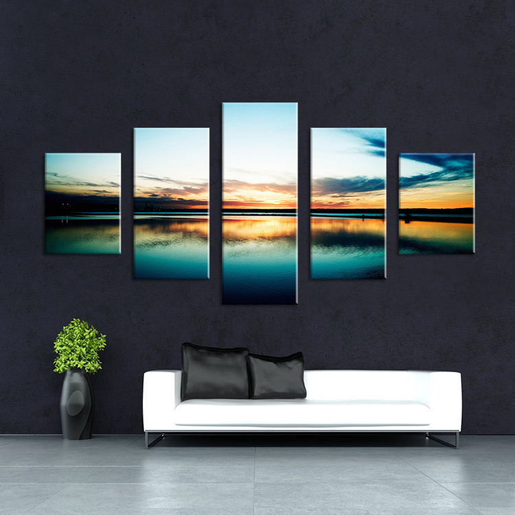 5 panels the sea landscape modern art canvas wall - Cuadros para el dormitorio ...