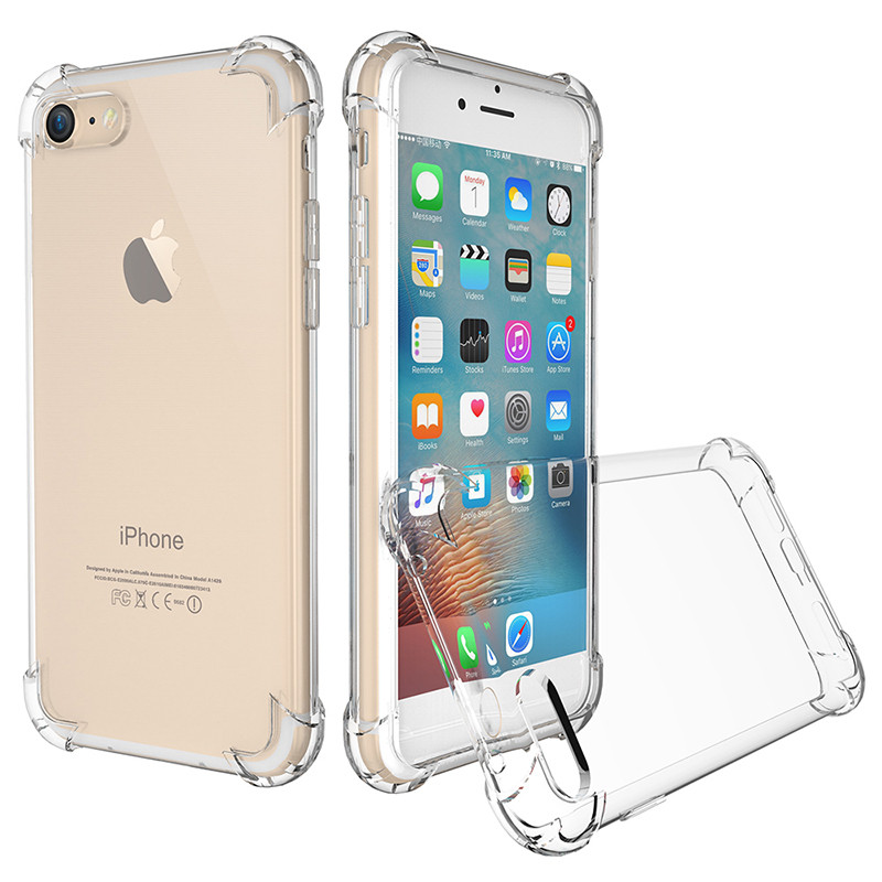 For iPhone 7 Drop Resistance Phone Case Four Square Thicken 360 Degree Full Protection Anti-knock Clear Cover For iPhone 7 4.7(China (Mainland))