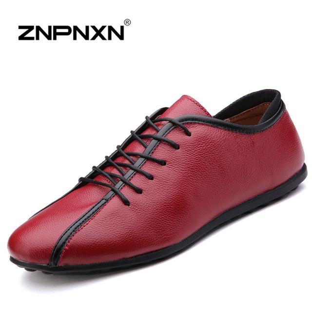 Новый 2015 Натуральная Кожа Мужчины повседневная обувь Весной и Осенью мужчины Квартиры ...
