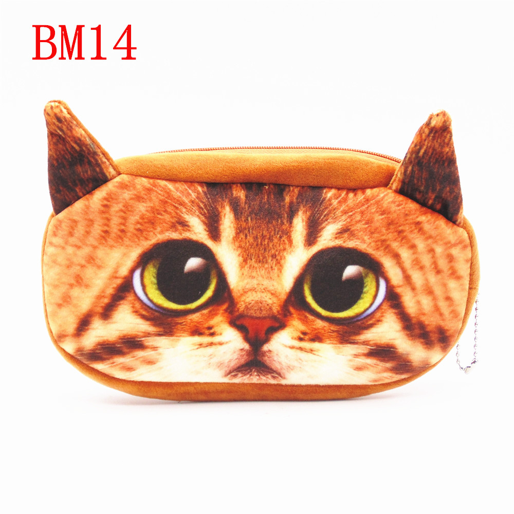3D Animal BM14 Large Capacity Plush Pencil Holder Storage Pouch Cosmetic Bag wallet phone package Plush Pencil Cases Bags(China (Mainland))