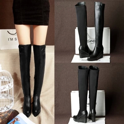 Autumn/winter 2014 new pointed cowhide leather wedge high knee-high boots British tall canister - Mishion Jewelry (min order $10 store)