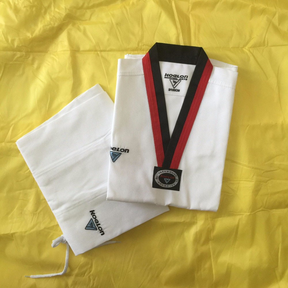 Wholesale Korea Brand KOELON adult children long-sleeve white taekwondo dobok suits Professional fringe paragraph uniforms 2016(China (Mainland))