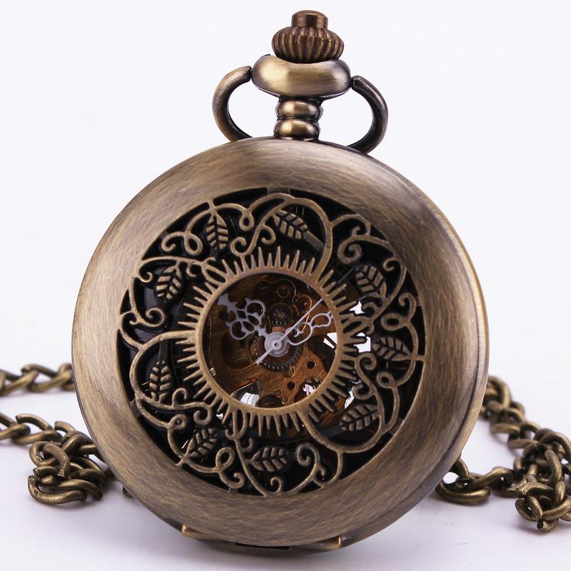 Steampunk Baroque Vintage Antique Archaize Gothic Dark Brown Bronze Mechanical Pocket Watch Sweater Chain Clock Necklace TD108(China (Mainland))