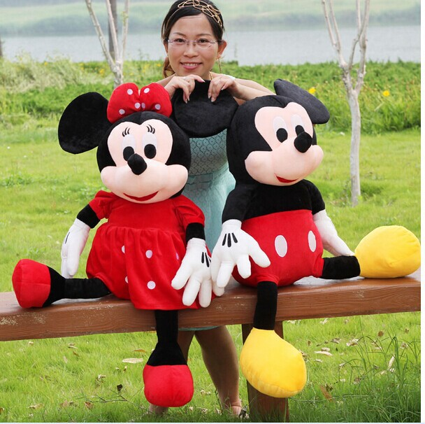 Фотография a pair of plush mickey mouse toys big lovely boy mickey and red girl minne mouse dolls gift about 100cm