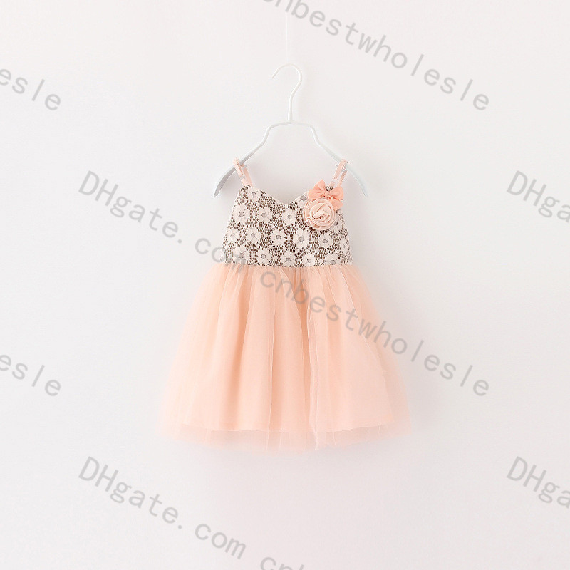 2015 Kids Girls Tulle Crochet Lace Dresses Baby Girl Summer Wedding Party TuTu Princess Dress Prom +Bow Flower Brooch - Miss2010 store