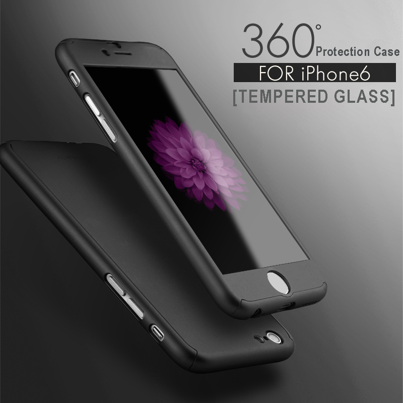 For iPhone 6 6s Plus Full Body Case With Tempered Glass Case Luxury 360 Derece Full Protection Cover