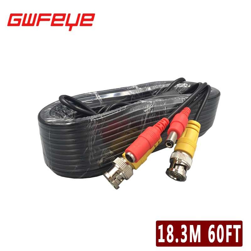 GWFEYE BNC DC Video Power Extension Cable 60ft 18.3M For Analog AHD CVI TVI CCTV Surveillance Camera DVR Kit(China (Mainland))
