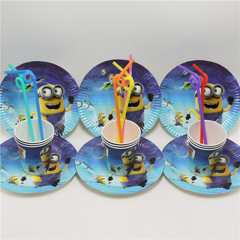 despicable me minions cartoon paper plate cup straw for kids happy birthday party 24 pcs/lot boy girl favor for 8 people use(China (Mainland))