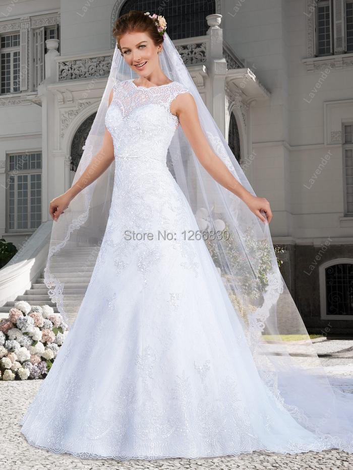 Bridal dresses Wedding Dress With Illusion Neck 2015 Bridal Gown Factory Church china online store New Arrival(China (Mainland))