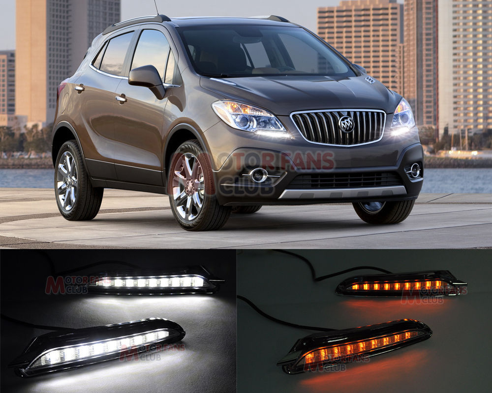 LED Daytime Running Light For Buick Encore Opel Mokka DRL 2013 2014 Turn Signal for free shipping<br>