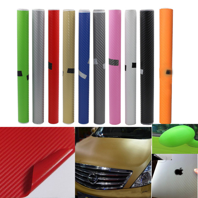 New 2015 Car Styling 30*130cm DIY Waterproof Car Stickers 3D Car Carbon Fiber Vinyl Many Color Available Decorative Film Paper