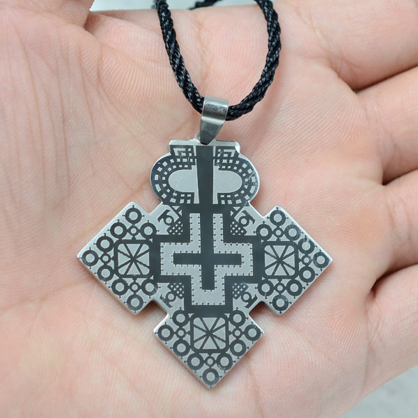 Buy silver stainless steel ethiopian cross jewelry abyssinia design style ball Design and style fashion jewelry