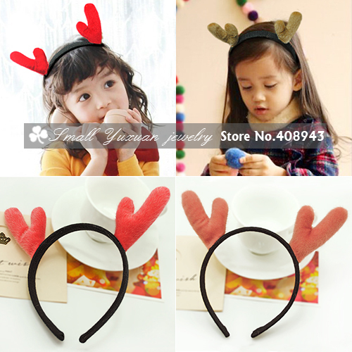 6Pcs/lot Christmas party headwear Cute children girls gift Christmas Hair Accessories furry Elk antlers headband /hairbands T822(China (Mainland))