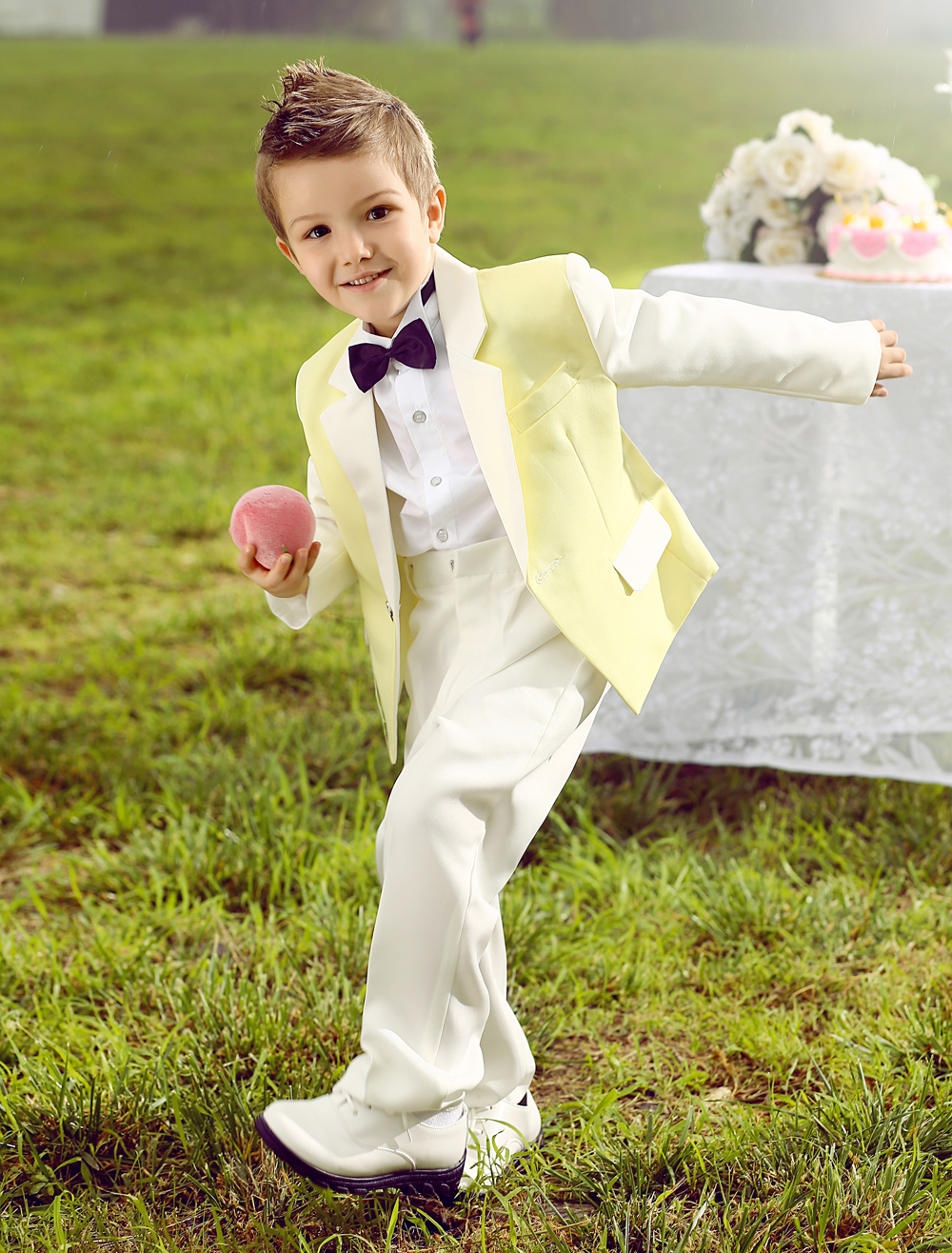 Four Pieces Luxurious formal yellow and white boys suits Ring Bearer Suits kids Tuxedo With Black Bow Tie boys outfit suits(China (Mainland))