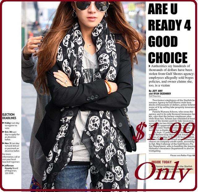 MOQ 1 Piece,Free shipping 2013 Autumn Winter Women's Fashion Cool 3 Colors Printed Skull Silk Long Chiffon Scarf 160*45