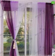 Fashion Finished Curtain Cloth For Window Gradient Laciness Screens Sheer  Curtains Cortinas Yarn Blue Purple Pink Green