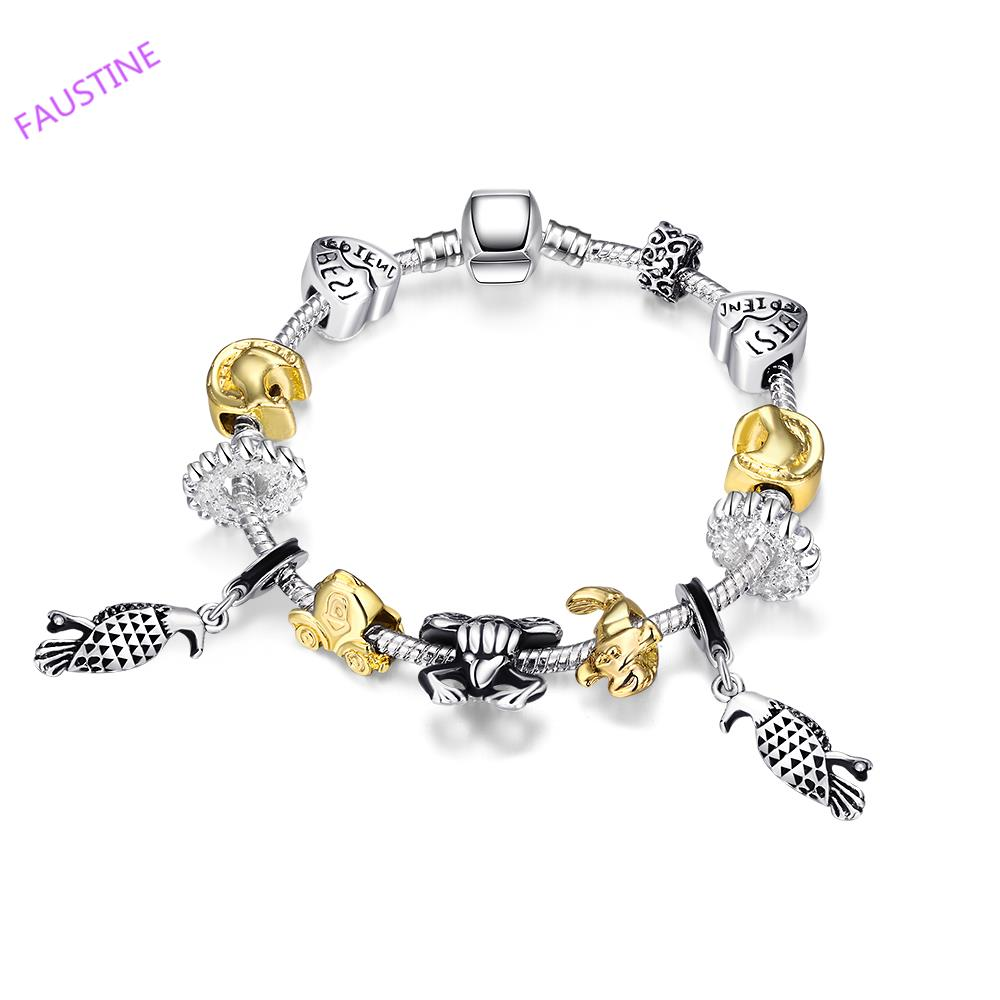 Colorful silver plated cute charms combination nice bracelet for woman(China (Mainland))