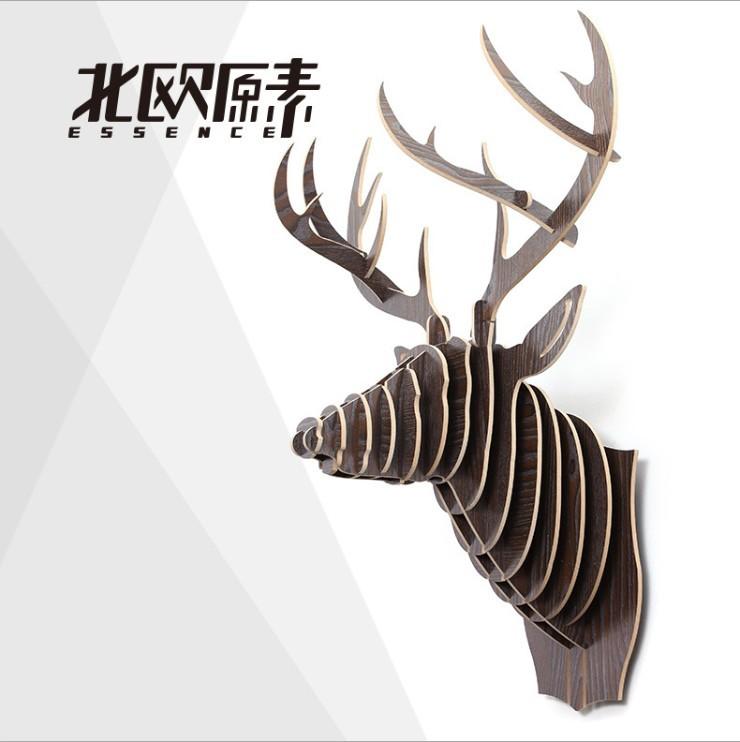 Creative European deer head wall decoration,moose elk reindeer head,Nodic 3D wood DIY home decor,beautiful wall art ornament(China (Mainland))