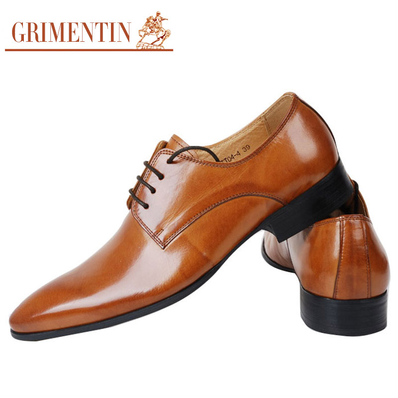 GRIMENTIN 2015 Italian smart fashion mens dress shoes casual genuine leather orange basic flats men office size:6-11 - store