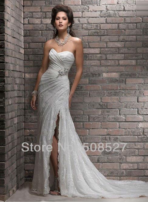 Новый заказ белый / кот Pleat бисероплетение блестками створки цветы кружева свадебное платье свадебное платье 2016 одеяние де свадебные платья