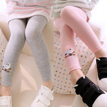 Kid Toddlers Warm Leggings Baby Kid Girl Bird Pattern Stretchy Pants Trousers