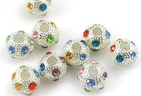 Air Mail Free Shipping 6MM Fashion Alloy Crystal Shamballa Bead Disco Ball Pave Rhinestone Bead silver colour(China (Mainland))