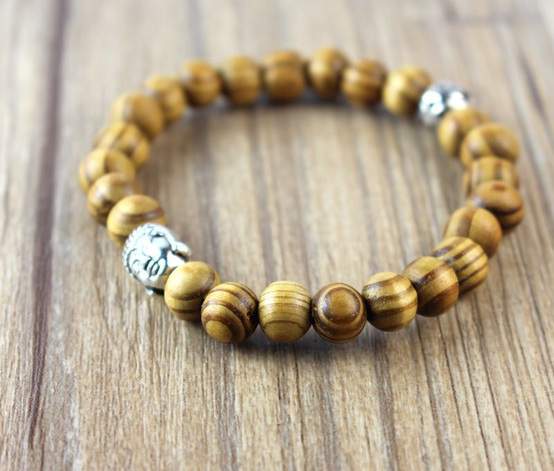 Fashion 8mm wooden bead colors Tibetan Buddha head wood bracelet new gift products for men and