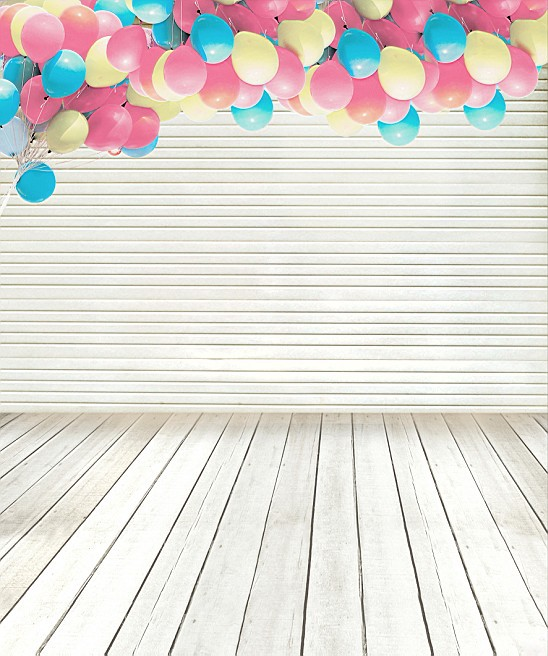 200CM*150CM Child Backgrounds Wood strip floor wall gap balloons Computer Painted baby mini photography background 1340(China (Mainland))