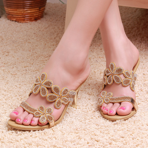 2013 rhinestone high-heeled sandals sexy flower cowhide female slippers female shoes plus size