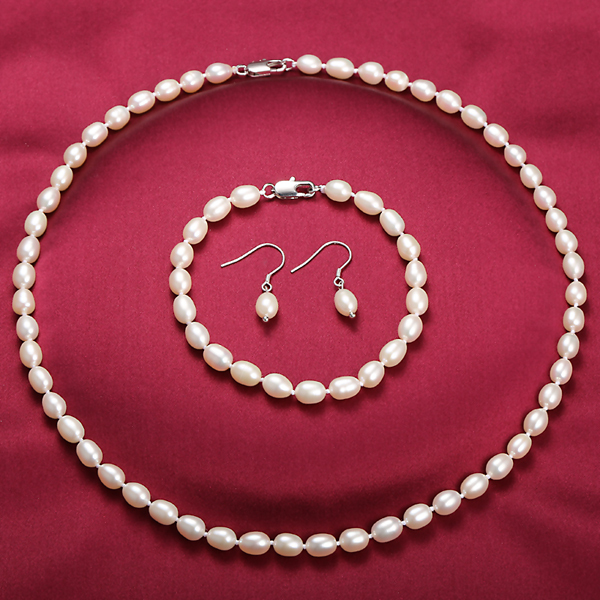 DAIMI Freshwater Pearl Jewelry Sets 6-7mm Small White Rice Pearl Jewelry 925 Sterling Silver Earrings Jewelry Sets wedding set(China (Mainland))