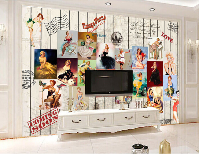 Large 3 d retro beauty poster board to map the sticky wallpaper from ...