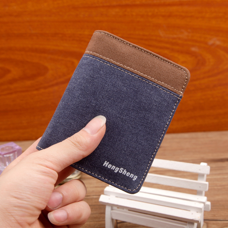 Fashion Men Short Canvas Wallets Vintange Small Vertical Wallet Card Package Money Purse Coin Bag(China (Mainland))