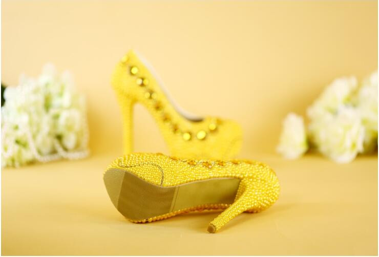 NEW arrival yellow wedding shoes handmade bridal shoes gold pearl party shoes 8cm/11cm/14cm heel big size free shipping