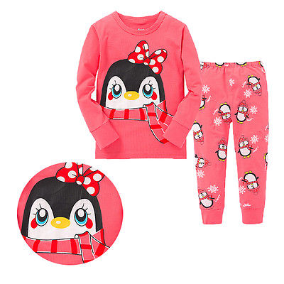 2016 Hot-selling Baby Kids Child Girls Outfits Cute Cartoon Penguin printed Sleepwear Tracksuits Pajamas Set Nightwear Clothing(China (Mainland))