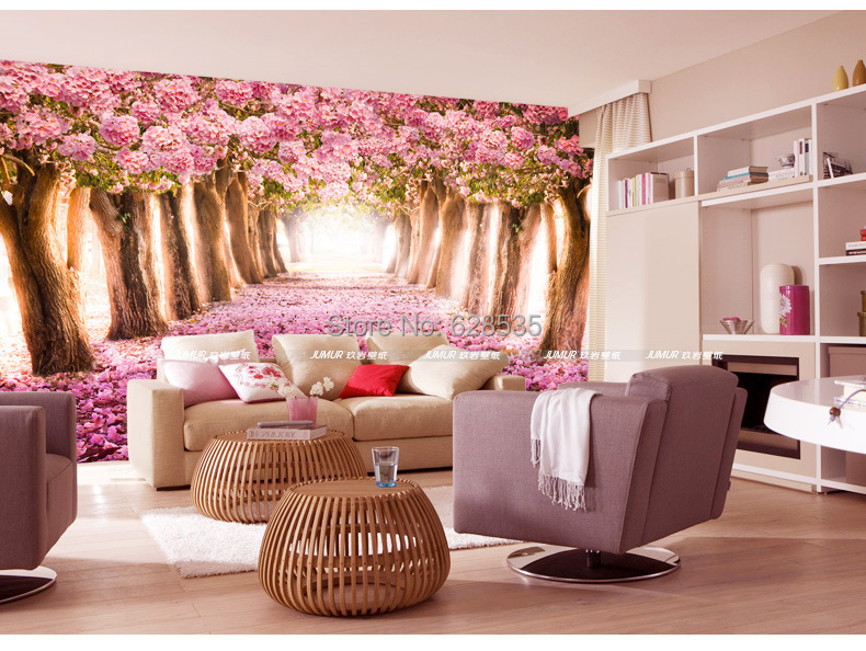 green material sitting bed room TV setting wall mural wallpaper love of  cherry blossom  wallpaper. Bed Room Setting Images