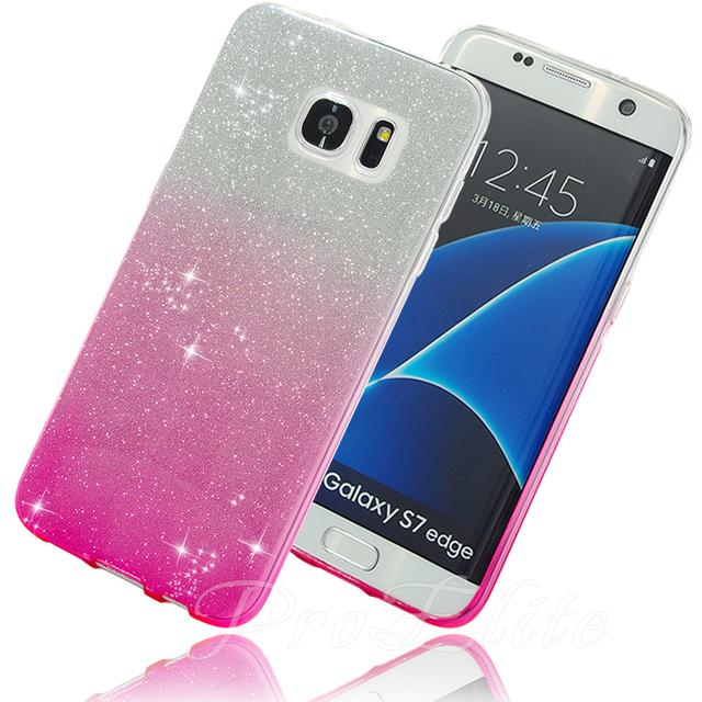 Для Galaxy S7 Edge Case Яркий Блеск Bling Сверкающих Мягкая ТПУ Градиент Цвета назад Silicone Case for Samsung Galaxy S7 A3 A5 2016 J5 J7