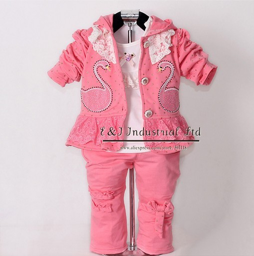 2015 New Children Spring Clothing Set Baby Girls Wear 3 Pcs Red Hoodies And T Shirt And Kids Pants Child Garment CS30202-09^^EI