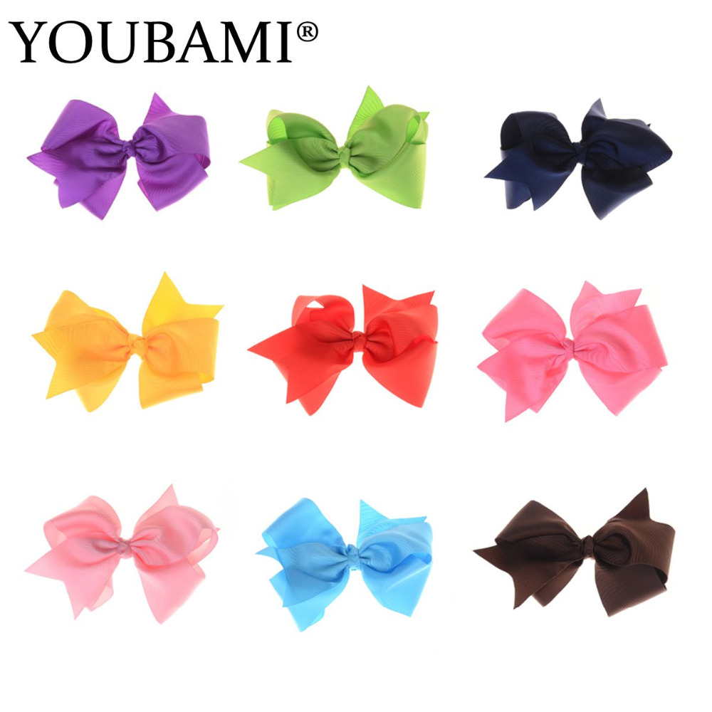 5 Inch Boutique Grosgrain Ribbon Solid HairBow Baby Hairbows Girl Hair Bows With Clip Set of 24 pcs 12 colors mixed(China (Mainland))